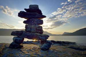 Canada, British Columbia, Russell Island. Rock inukshuk in front of Salt Spring Island