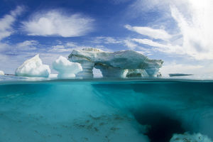 Canada, Nunavut Territory, Repulse Bay, Underwater view of melting iceberg in Harbour