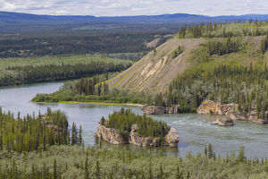 Canada, Yukon Territory. Landscape with Five Finger Rapids and Yukon River. Credit as