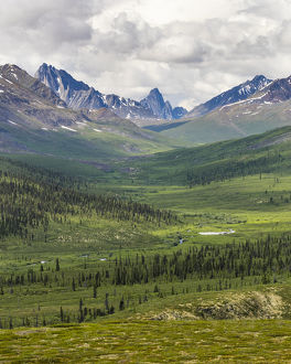 Canada, Yukon Territory. Landscape of Tombstone Range and North Klondike River. Credit as
