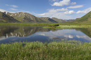 Canada, Yukon Territory, Tombstone Territorial Park. Mountain and lake landscape
