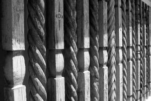 Carved wood fencing on Canyon Rd, Santa Fe, New Mexico, USA