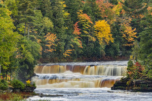 Cascade and fall colors on lower section of Tahquamenon Falls, Tahquamenon Falls