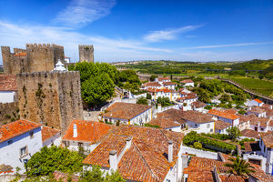 Castle Wals Turrets Towers Medieval Town Obidos Portugal