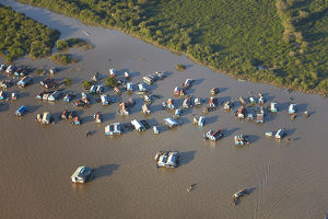 Chong Khneas Floating Village, Tonle Sap Lake, near Siem Reap, Cambodia - aerial