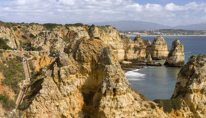 The cliffs and sea stacks of Ponta da Piedade at the rocky coast of the Algarve in