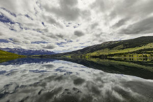Clouds reflecting on Lake Azul, Torres del Paine National Park, Chile, Patagonia
