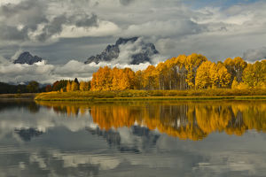 cloudy autumn day, Oxbow, Grand Teton National Park, Wyoming, USA