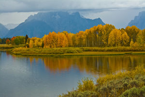Cloudy day, autumn, Oxbow, Grand Teton National Park, Wyoming, USA