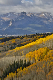 Colorado Rocky Mountains on Ohio Pass and backdrop of the Castle Mountain Autumn