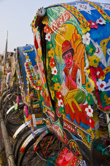 Colourful bicycle rickshaws, Dhaka, Bangladesh, Asia