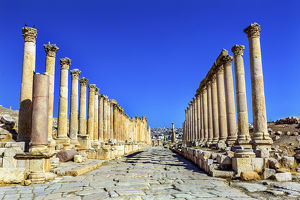 Corinthian Columns Ancient Roman Road City Jerash Jordan