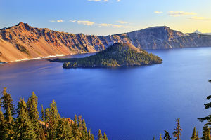 Crater Lake National Park Wizard Island Blue Lake Morning Oregon Pacific Northwest