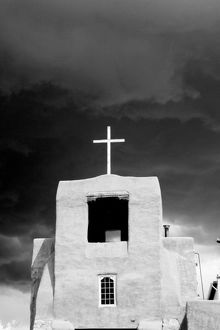 black white/cross oldest church san miguel santa fe new mexico