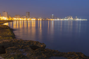 Cuba, Havana. View along the Malecon in pre-dawn