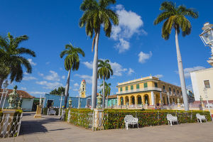 Cuba, Sancti Spiritus Province, Trinidad. Plaza filled with palm trees