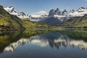 Cuernos del Paine (Horns of Paine) reflecting on lake, Torres del Paine National Park