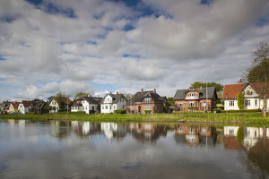 Denmark, Jutland, Ribe, buildings by the Ribe River