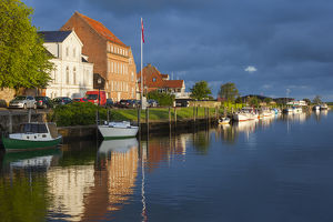 Denmark, Jutland, Ribe, town view from the Ribe River, dawn