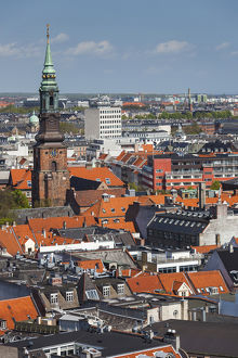 Denmark, Zealand, Copenhagen, elevated city view