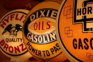 Dixon, New Mexico, United States. Vintage gasoline signs