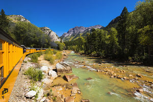 The Durango & Silverton Narrow Gauge Railroad on the Animas River, San Juan National