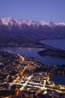 Dusk over Queenstown and Lake Wakatipu, South Island, New Zealand