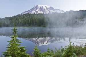 early morning, Mount Rainier, Reflection Lakes, Mount Rainier National Park, Washington