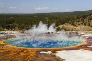 Elevated view of Grand Prismatic Spring, the largest in the U