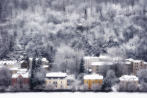 Europe, Austria, Salzburg. Dreamlike view of residences and snow-covered trees on hillside