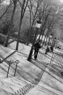 black white/europe france paris montmartre morning staircase