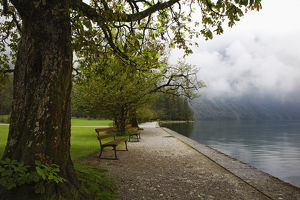 Europe, Germany, Lake Konigssee. Benches overlooking lake