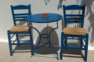 Europe, Greece, Dodecanese Islands, Kos: table and chairs
