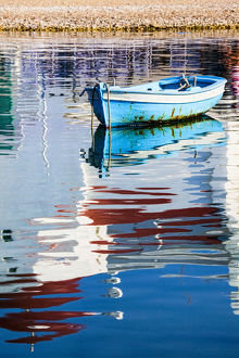 europe/greece/europe greece mykonos hora fishing boat reflection