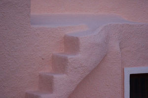 europe/greece/europe greece santorini thira oia pink stucco