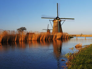 Europe;Netherlands;Kinderdijk;Evening Light along the canal with Windmills