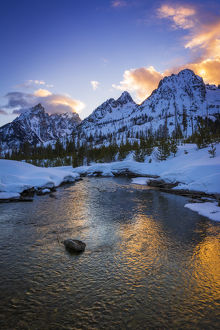 Evening light over the Tetons from Cottonwood Creek in winter, Grand Teton National Park