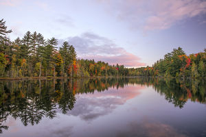Fall colors on shoreline of Irwin Lake, Hiawatha National Forest, Alger County, Upper