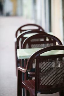 France, French Alps (Haute, Savoie), ANNECY: Cafe Table & Chairs along Canal de Thiou