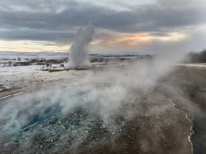 The geothermal area Haukadalur part of the touristic route Golden Circle during winter