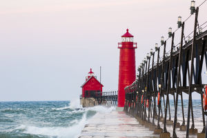 Grand Haven South Pier Lighthouse at sunrise on Lake Michigan, Ottawa County, Grand Haven