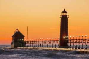 Grand Haven South Pier Lighthouse at sunset on Lake Michigan, Ottawa County, Grand Haven