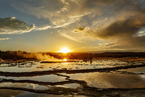Great Fountain Geyser at sunset, Lower Geyser Basin, Yellowstone National Park