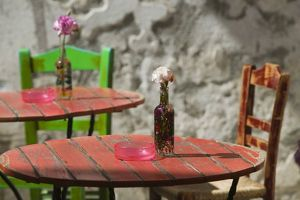 cafe tables chairs/greece crete hania province hania colorful