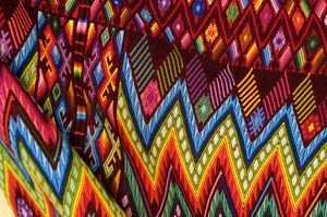Guatemala, Chichicastenango, Colorful fabric close-up