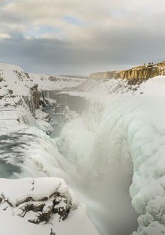 Gullfoss, one of the iconic waterfalls of Iceland during winter and one of the stops