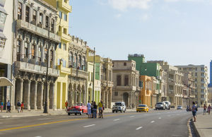 Havana Cuba main street at Capital with old colorful buildings and traffic Habana