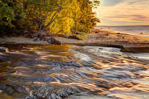 Hurricane River flowing into Lake Superior at sunset, Pictured Rocks National Lakeshore