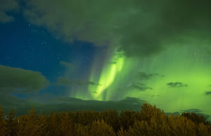 europe/iceland/iceland spectatular northern lights green reykholt