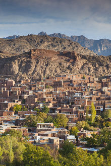 Iran, Central Iran, Abyaneh, elevated village view, dawn